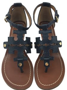 Tory Burch Chandler Sandals Studded Leather Navy Wedges