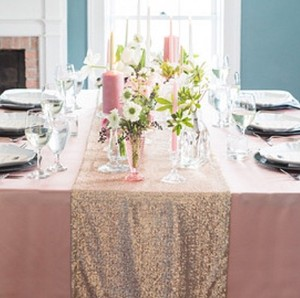 Sequin Champagne Table Runners Wedding Event