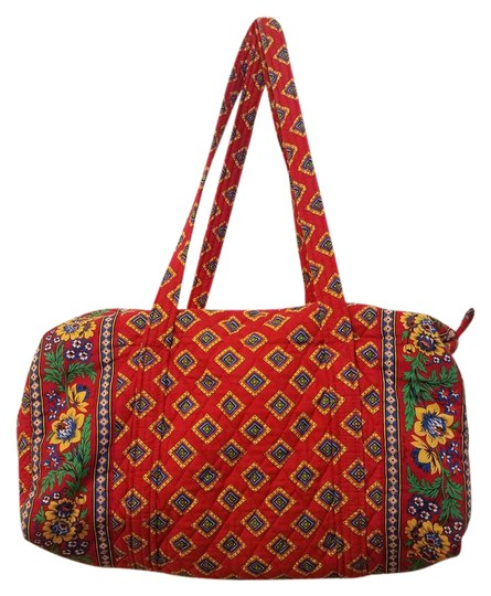 Vera Bradley Retired Medium Duffle Travel Villa Red Travel Bag