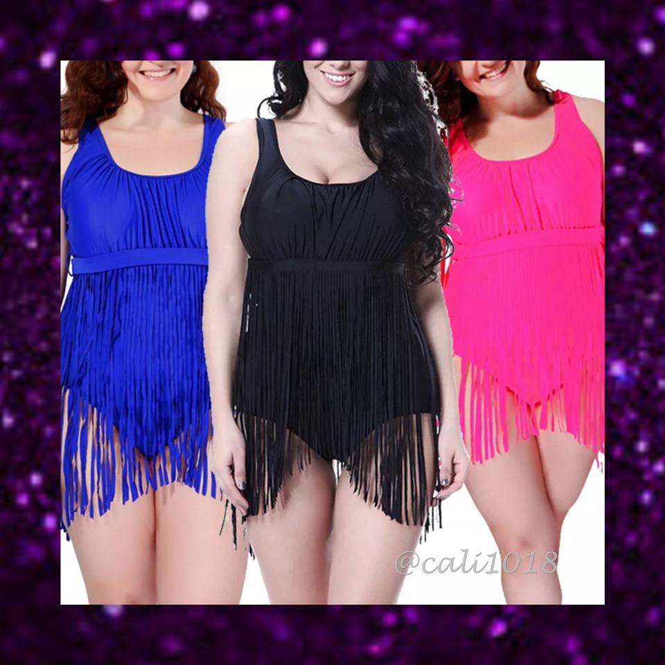 8400e921cd2 Other SUMMER SALE New Black Sexy Plus Size One Piece Fringe Bathing Suit  Image 3. 1234