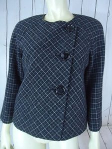 Anne Klein Anne Klein Blazer 10p Gray White Plaid Lambswool Diagonal Button Frt Retro Swing