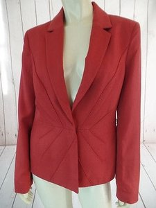 Anne Klein Anne Klein Blazer Rust Rayon Snap Front Geometric Piping Design Lined Chic