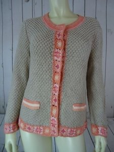 J. Jill Crochet Knit Linen Cotton Snaps Sweater