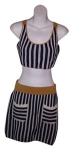WeSC 2 Piece Top Night Out Casual High Cute Girly Hipster Punk Mini Skirt black and white strips with gold waist and gold trim