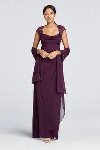 David's Bridal Plum Cap Sleeve Long Jersey Dress With Lace Detail Dress