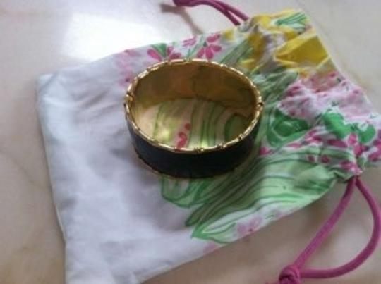 Lilly Pulitzer Lilly Pulitzer Black and Gold Bamboo Hinged Bangle