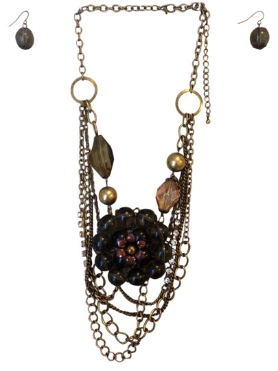 none Dark Green & Gold Statement Necklace & Earring Set