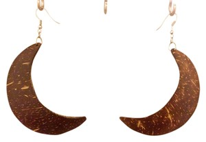 none Dark Brown Wood Crescent Shape Earrings