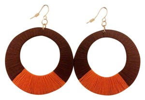 none Brown & Orange Large Hoop Earrings