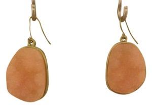none Pink & Gold Druzy Drop Earrings