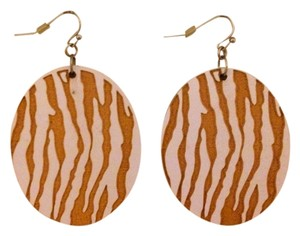 none Neutral Zebra Print Earrings