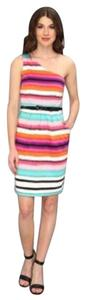 London Times Striped One-shouldered Dress