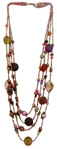 none Multicolor Beaded Statement Necklace & Earring Set
