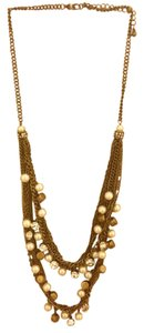 none Pearl/Crystal/Gold Statement Necklace