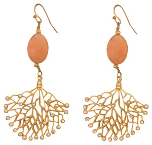 none Gold Coral Chandelier Earrings