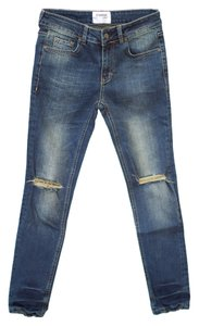 Sincerly Jules Blue Distressed Cotton Skinny Jeans-Distressed