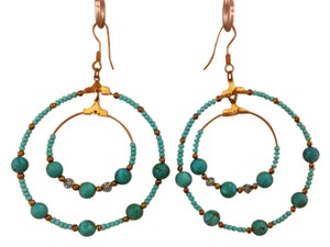 none Turquoise & Gold Beaded Hoop Earrings