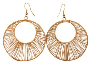 none Gold Thick Wire Hoop Earrings