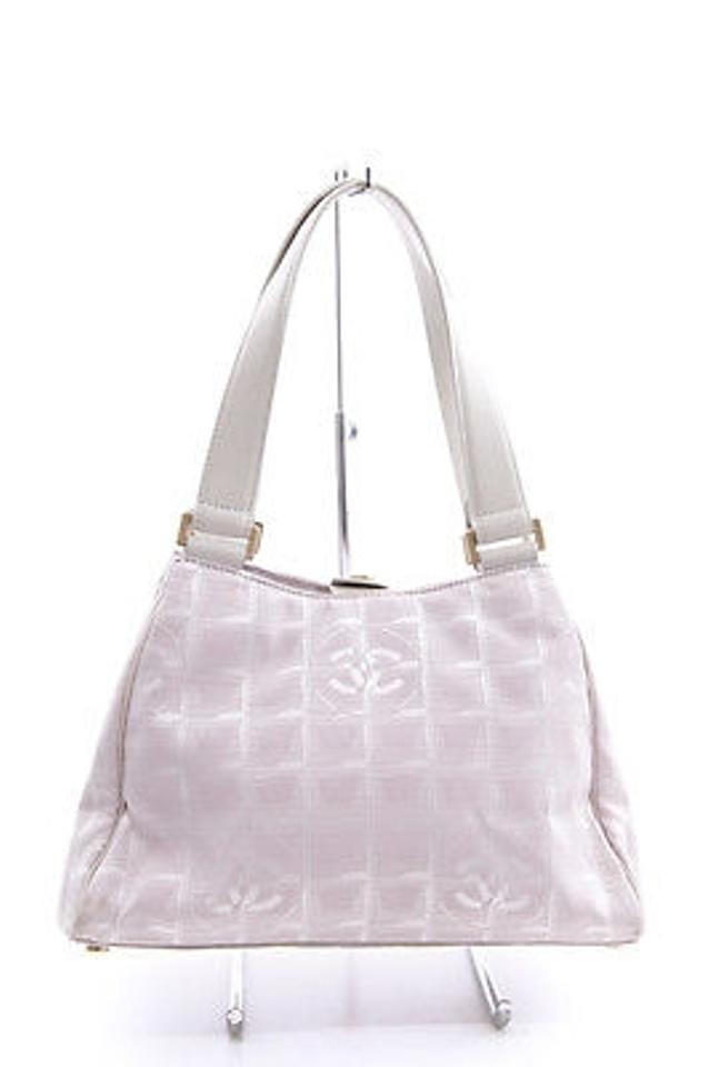 0596f0ad123a26 Chanel Light Travel Line Cc Jacquard Nylon Canvas White Leather Purse  Satchel in Pink Image 0 ...