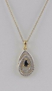 Other Sterling Silver 18 18kt Vermeil Sapphire Diamond Necklace W Box Bj13