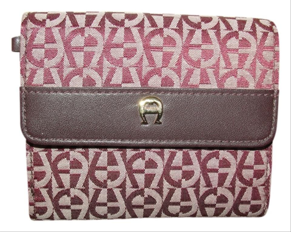 etienne aigner signature burgundy jacquard trifold card wallet tradesy