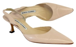 Manolo Blahnik Blush Pointed Toe Slingbacks Sandals