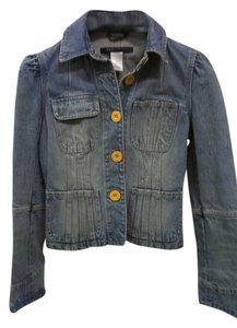 Marc Jacobs Denim Jean Puff Sleeve Faded Womens Jean Jacket