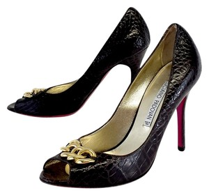 Luciano Padovan Dark Brown Snakeskin Leather Heels Pumps