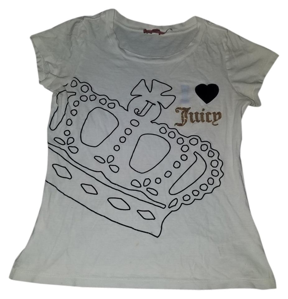 0316ae4c Juicy Couture White Crown Gold Sequin Bling Blue T-shirt Tee Shirt ...