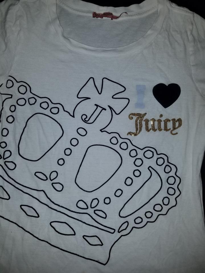 d7e07fd7 Juicy Couture White Crown Gold Sequin Bling Blue T-shirt Tee Shirt Size 10 ( M) - Tradesy