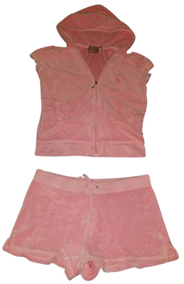 091e748d751b Juicy Couture Pink Short Set Outfit Light Terry Cloth Sweatshirt/Hoodie