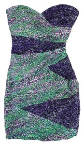 BCBGMAXAZRIA short dress Purple Green Strapless on Tradesy