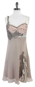 Karen Millen short dress Taupe Blush Embroidered on Tradesy