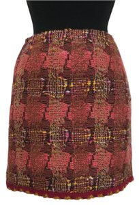 Tweed Woven Boucle Mini Skirt brown, pink, orange, red, yellow