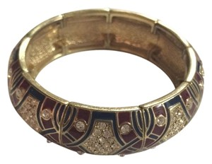 J.Crew NEW J.Crew Goldtone Stretch Bangle Bracelet Maroon With Crystals