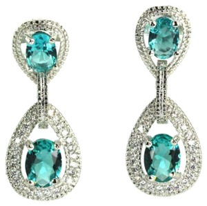 Other Aquamarine Crystal Earrings Rhodium Plated