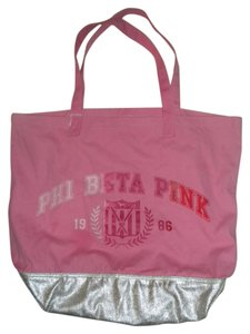 Victoria's Secret Tote in Pink with silver bottom