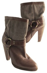 Jeffrey Campbell Leather Fabric High Heel Brown Boots