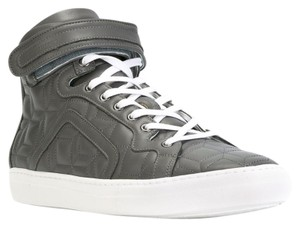 Pierre Hardy Leather High Top Sneaker Quilted Geometric Grey Athletic
