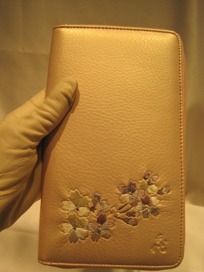 Other Leather Travel Wallet; Pink Pearl Embroidered Leather - [ Roxanne Anjou Closet ]