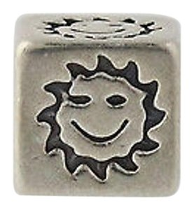 Smiley Face Sun Block Bead Charm - Sterling Silver Jewelry Making Crafting
