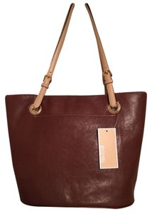 5bf54371dbe8e Michael Kors Jet Set Dune Leather Charm Large Satchel Tote in Brown
