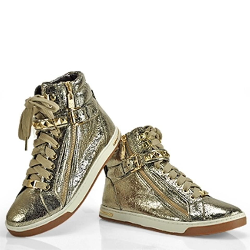 d8636496d430f Michael Kors Glam Studded Gold Bronze Metallic Leather High Top Sneakers  Sports Sporty Casual Zipper Laced. 12345678