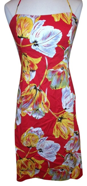 Item - Red Yellow Knee Length Short Casual Dress Size 10 (M)