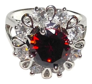 New 14K White Gold Filled Ring Size 8 W/ Large Red Cubic Zirconia J2399
