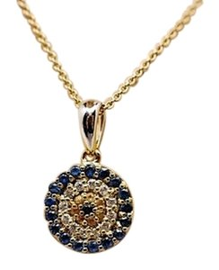 Other 'Evil Eye' Diamonds/Sapphire Pave Pendent Necklace w/14K Chain - 18