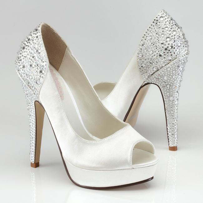 Item - White/Silver Crystal Starry Satin Pumps Size US 9 Regular (M, B)
