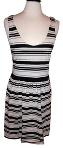 J.Crew short dress Black Cream Stripe Size M on Tradesy