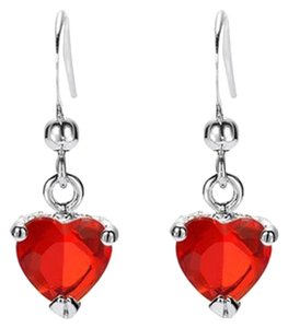 Freestyle Heart Gemstone Dangle Earrings in White Gold Plated