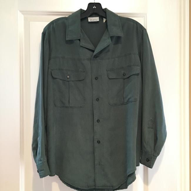 Go Silk Button Down Shirt Washed Sage Green Image 2